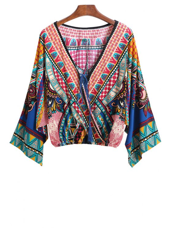 ladies V-Neck Color Block Print Tie-Up crop blouse Kimono - COLORMIX ONE SIZE(FIT SIZE XS TO M)