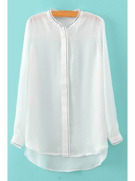 outfit White Stand Neck Long Sleeves Shirt - WHITE M