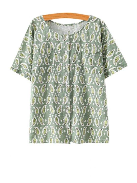 shop Paisley Print Short Sleeve Blouse - GREEN S