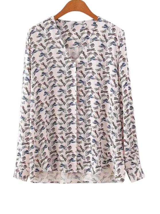 fancy Butterfly Print V-Neck Blouse - WHITE S