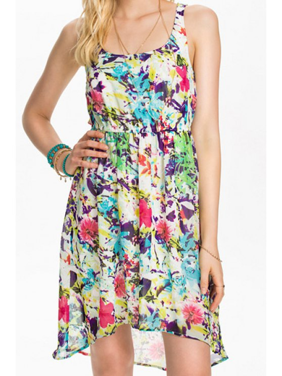 new U-Neck Colorful Floral Print Asymmetrical Dress - COLORMIX S