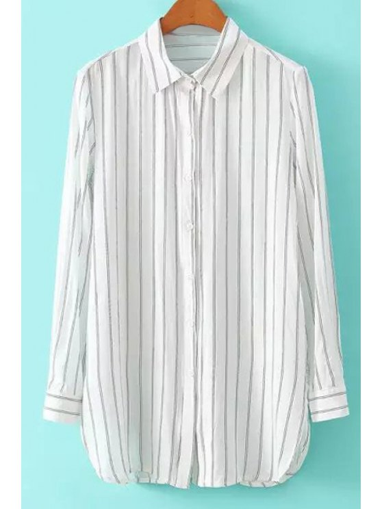 lady Stripe Shirt Neck Long Sleeve Shirt - STRIPE S