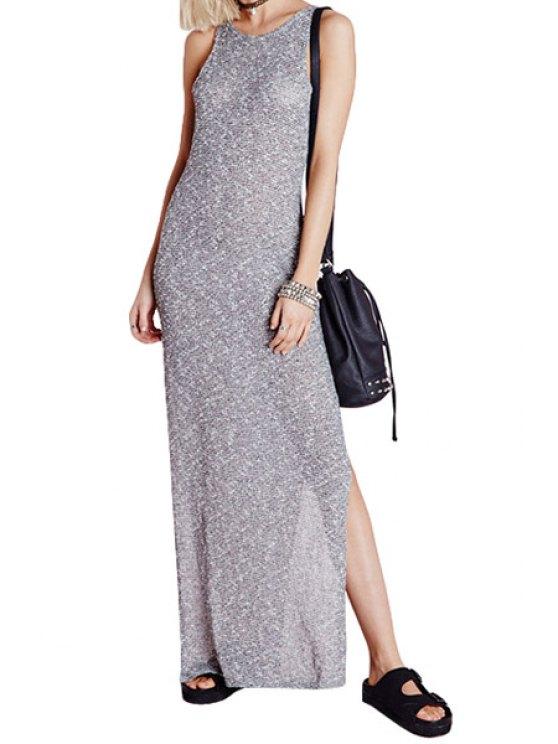 sale Side Slit Sleeveless Maxi Dress - GRAY S