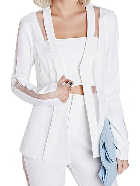 affordable Solid Color Voile Splicing See-Through Blazer - WHITE S