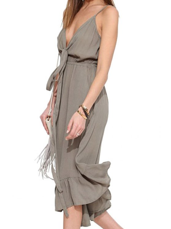 outfit Spaghetti Strap Tie-Up Flounce Jumpsuit - GRAY S
