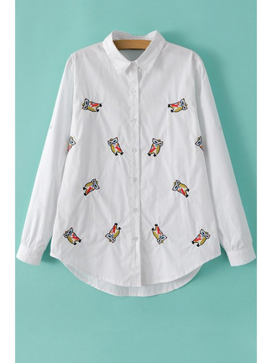 affordable Owl Embroidery Long Sleeves Shirt - WHITE S