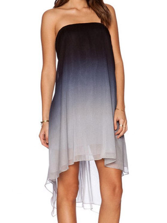 women's Strapless Ombre Asymmetrical Sleeveless Dress - GRAY XL