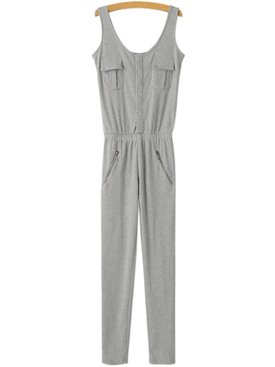 womens Solid Color Sleeveless Slimming Jumpsuit - LIGHT GRAY S