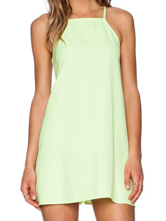 fancy Spaghetti Strap Voile Splicing Backless Dress - GREEN S