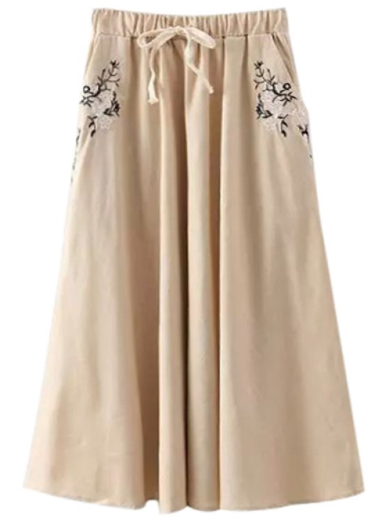 best Floral Embroidery Drawstring Long Skirt - OFF-WHITE ONE SIZE(FIT SIZE XS TO M)