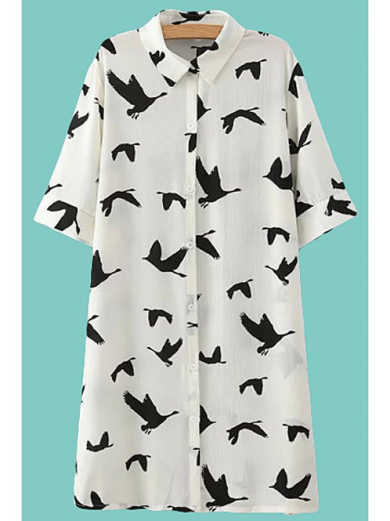 unique Full Bird Print Half Sleeve Shirt - WHITE ONE SIZE(FIT SIZE XS TO M)