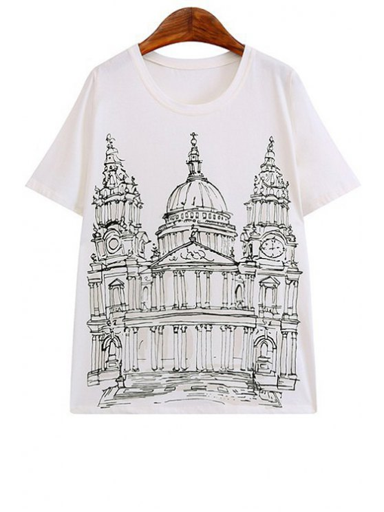 shops Castle Print Short Sleeve T-Shirt - WHITE S