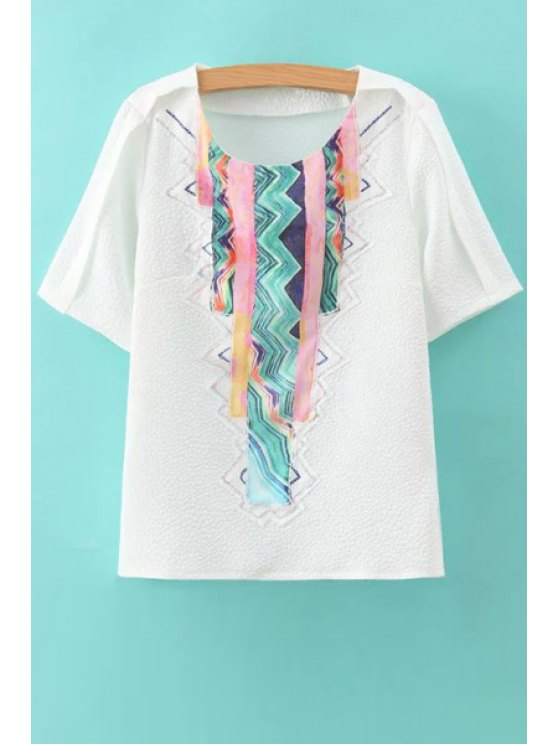 chic Colorful Stripe Applique Short Sleeve T-Shirt - WHITE S