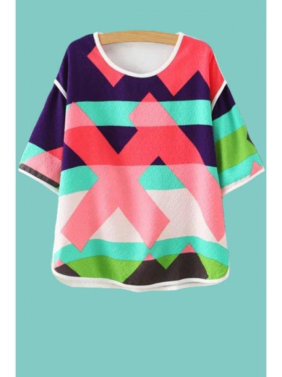 ladies Color Block Stripe Jewel Neck T-Shirt - COLORMIX L