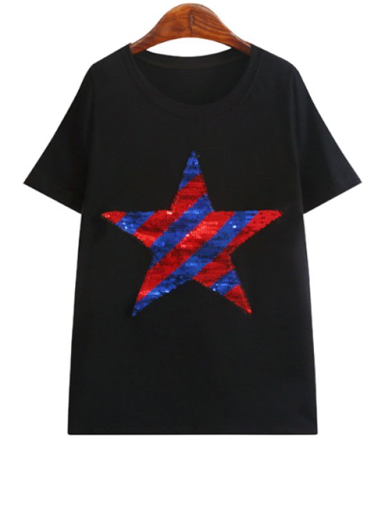 lady Color Block Star Pattern Sequins T-Shirt - BLACK ONE SIZE(FIT SIZE XS TO M)