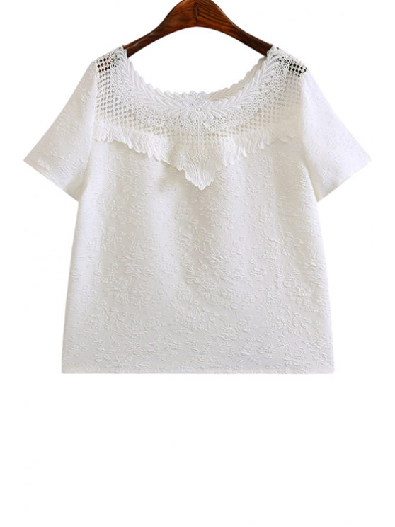 online Scoop Neck Lace Splicing Solid Color T-Shirt - WHITE S