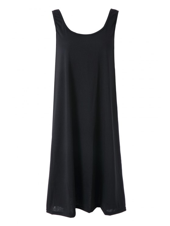 online Solid Color Straps Backless Dress - BLACK ONE SIZE(FIT SIZE XS TO M)