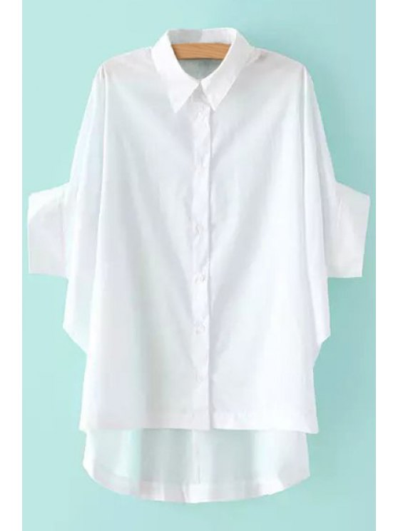 womens Solid Color Asymmetrical Batwing Sleeve Shirt - WHITE S