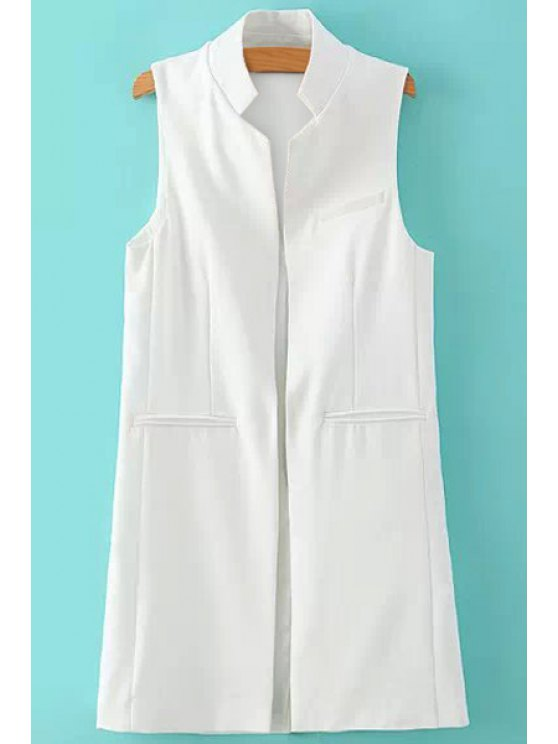 chic Stand-Up Collar Solid Color Sleeveless Waistcoat - WHITE S