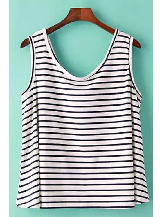 online Scoop Neck Stripe Sleeveless Tank Top - WHITE ONE SIZE(FIT SIZE XS TO M)