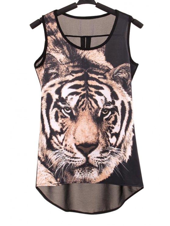 best Tiger Print Scoop Neck Tank Top - BLACK S