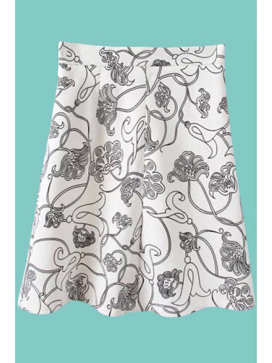 chic Floral Print A-Line Zipper Fly Skirt - WHITE S