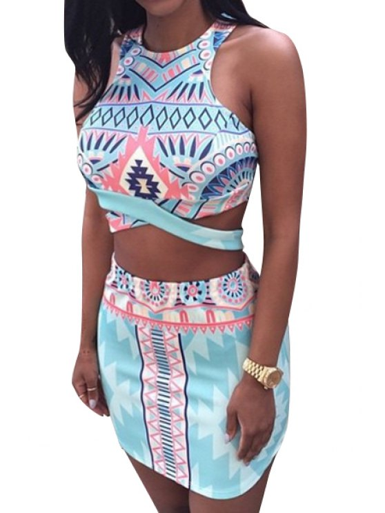outfit Sleeveless Argyle Print Crop Top and Skirt Suit - LIGHT BLUE M