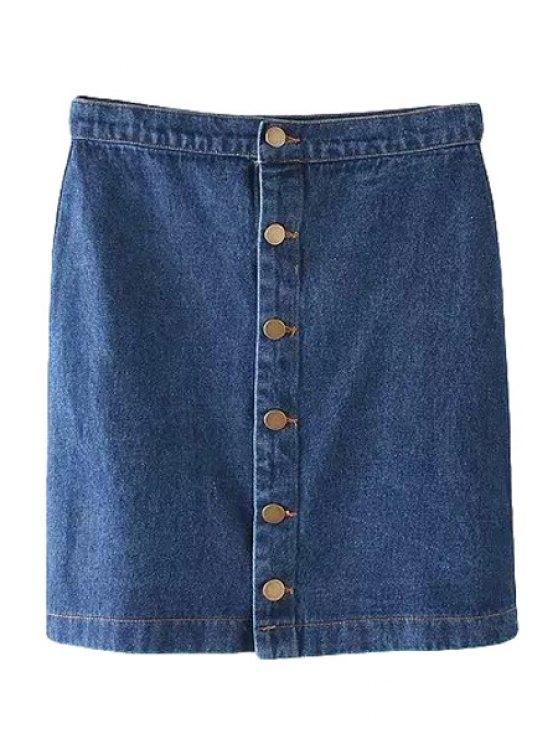 best Bleach Wash Single-Breasted Denim Skirt - PURPLISH BLUE M