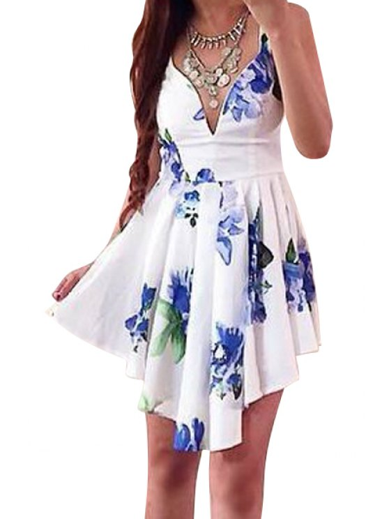 unique Floral V-Neck Sleeveless Irregular Dress - WHITE S