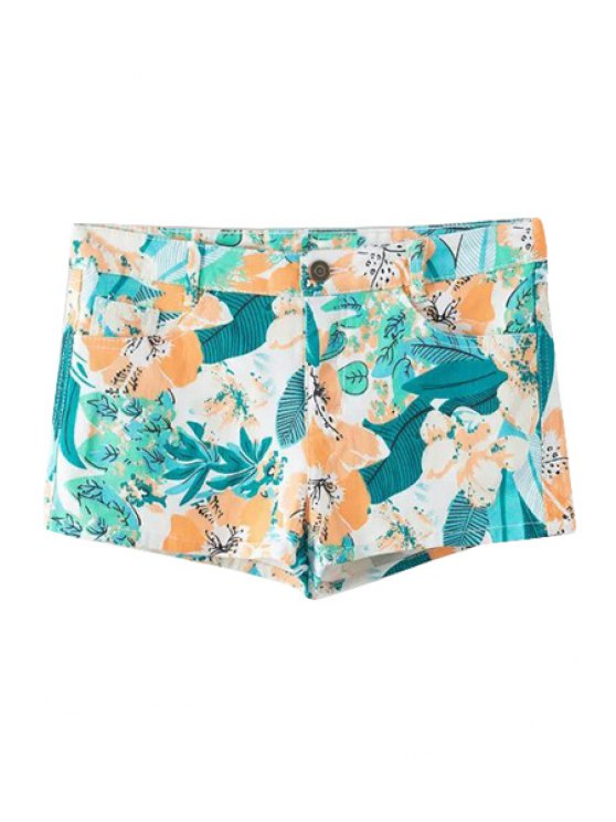 trendy Floral Leaves Print Zipper Fly Shorts - YELLOW S