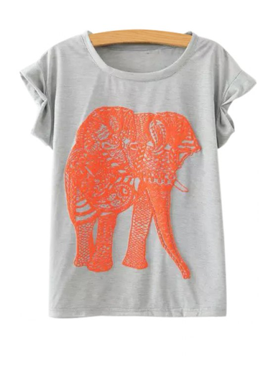 affordable Jewel Neck Elephant Print T-Shirt - GRAY ONE SIZE(FIT SIZE XS TO M)