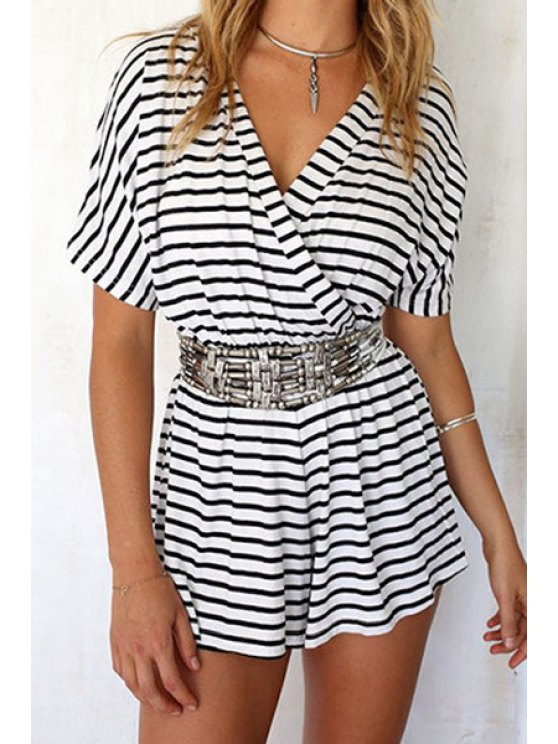 trendy V-Neck Stripe Short Sleeve Romper - WHITE S