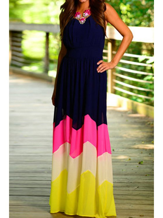 fancy Scoop Neck Color Block Stripe Sleeveless Maxi Dress - PURPLISH BLUE M