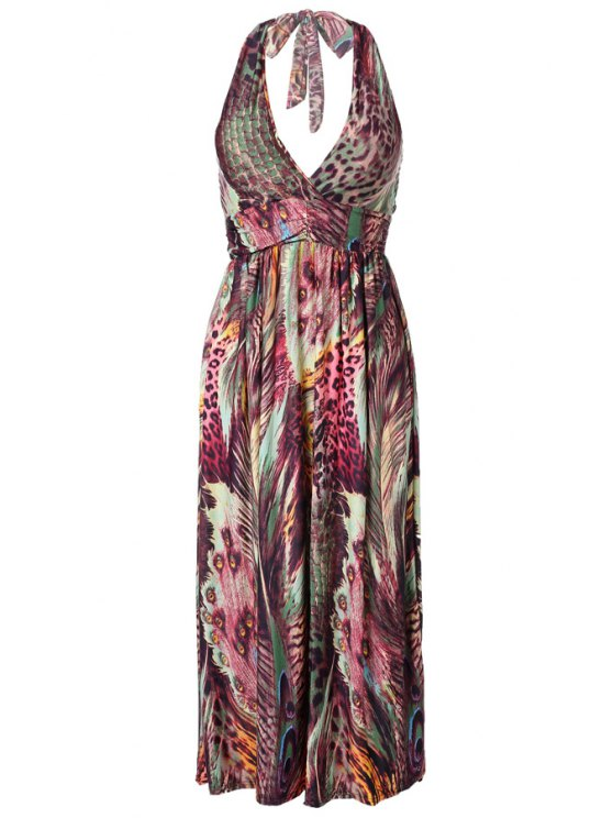 buy Peacock Feather Print Sleeveless Maxi Dress - JACINTH ONE SIZE(FIT SIZE XS TO M)