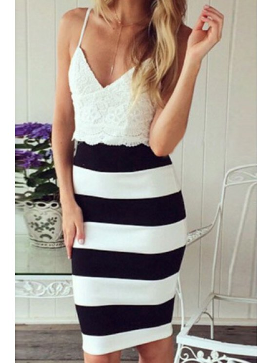 women's Spaghetti Strap Stripe Lace Splicing Dress - WHITE S