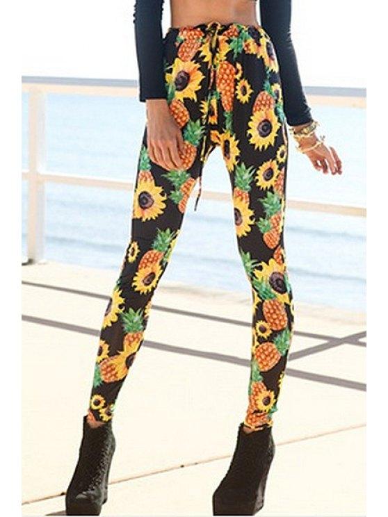 buy Sunflower Print Narrow Feet Pants - YELLOW S