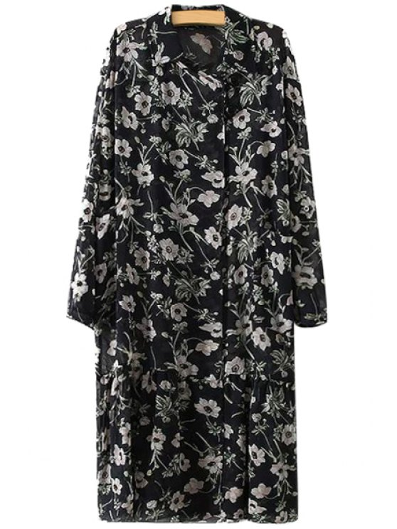 affordable Full Floral Long Sleeve Chiffon Dress - BLACK M