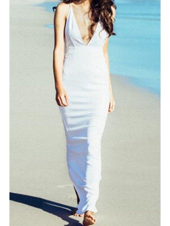 ladies Spaghetti Strap Solid Color Back Slit Maxi Dress - WHITE XL