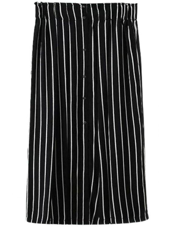 chic Stripe Single-Breasted Skirt - STRIPE M