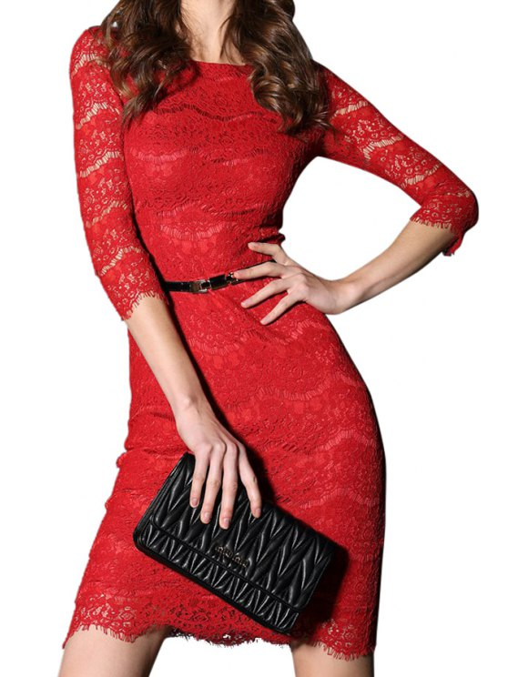 ladies Solid Color Lace Hollow Out 3/4 Sleeve Dress - RED S