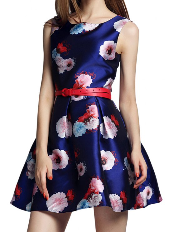 online Floral Print Red Belt Sleeveless Flare Dress - PURPLISH BLUE S