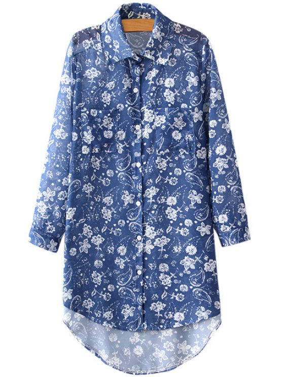 outfits Floral Blue Long Sleeve Shirt - BLUE ONE SIZE(FIT SIZE XS TO M)
