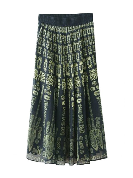 shop Elasitic Waist Totem Print Long Skirt - COLORMIX ONE SIZE(FIT SIZE XS TO M)