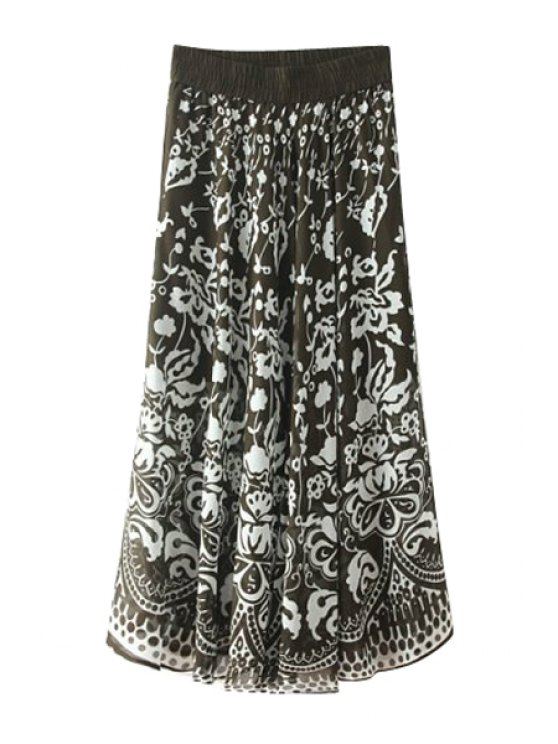 latest Elasitic Waist Floral Print Long Skirt - COLORMIX ONE SIZE(FIT SIZE XS TO M)