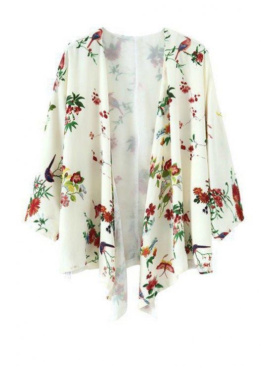 buy Floral Bird Print 3/4 Sleeve Kimono - WHITE S