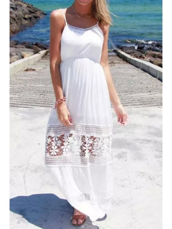 best Spaghetti Strap Floral Pattern Hollow Out Maxi Dress - WHITE S