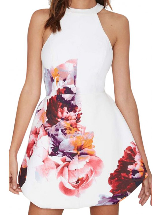 unique Printed Halter Backless Dress - WHITE S