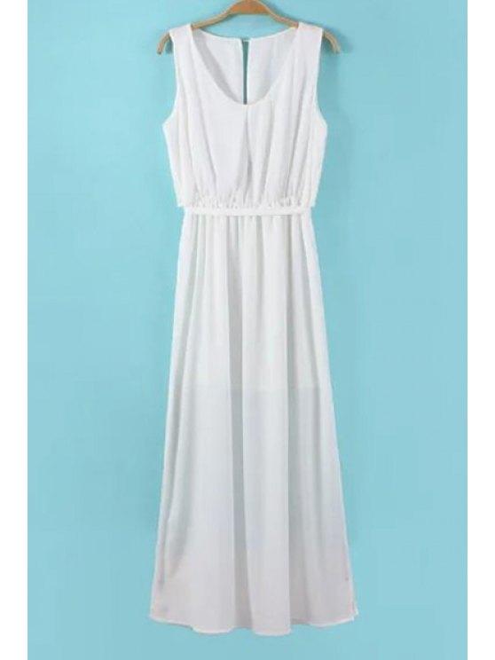 shop Solid Color Side Slit Tie-Up Maxi Dress - WHITE S