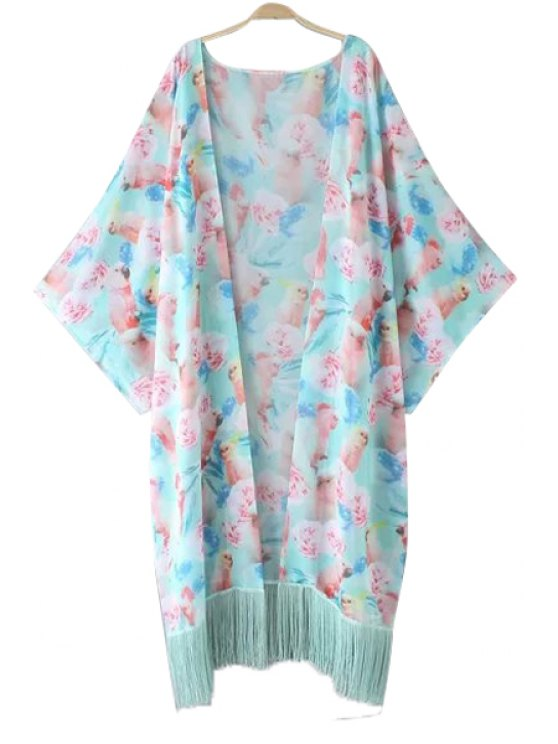 outfit Parrot Print Tassel Long Sleeve Kimono - COLORMIX ONE SIZE(FIT SIZE XS TO M)