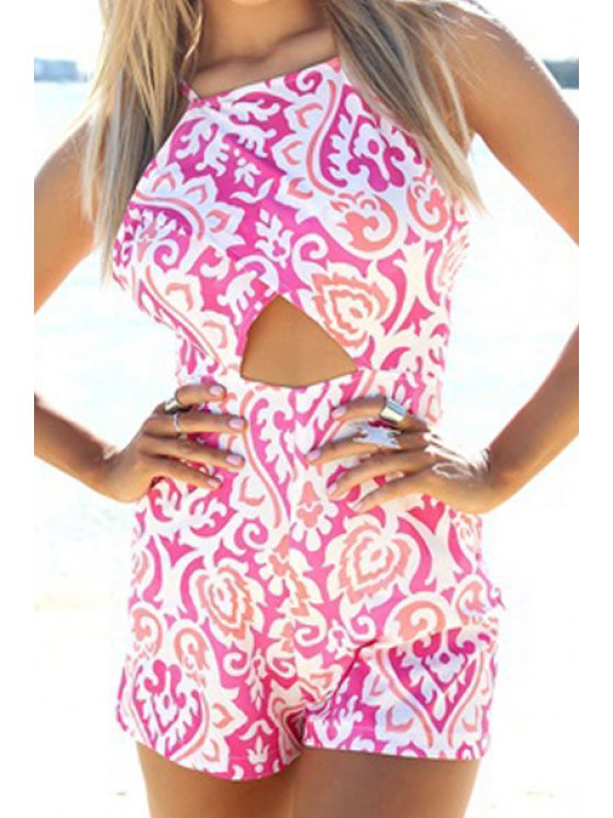 ladies Spaghetti Strap Cross Hollow Out Pink Print Romper - PINK AND WHITE S
